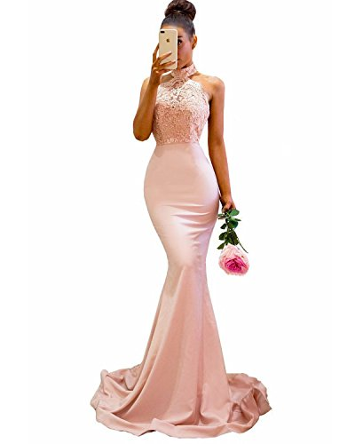 73706b1b71676 ... Applique Mermaid Bridesmaid Dresses Sexy Halter Long Prom Gown Formal  Blush Pink US2.   