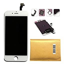 PassionTR Retina LCD Touchscreen Digitizer Frame Assembly Full Set Replacement Screen for iPhone 6 PLUS(5.5 inch)with Instruction card and tools in White