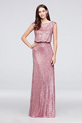 e78586894e7d David's Bridal Long Sequin Blouson Bridesmaid Dress Style F19022