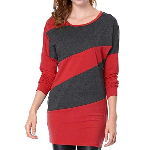 Chemisier Femme Cou Dcontract Automne Bringbring Rouge O Manches Chemises Longues Ray Blouse Tops Long rfqrn4A