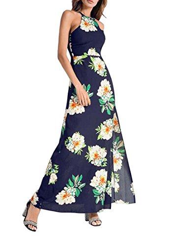 Niñas Las Vestido Vestido Nuevo Primavera Femenino XIAOXIAO 2018 Halter tamaño Sexy Estilo Color de Boho Verano Azul L Irregular Vestido Ow86Idq