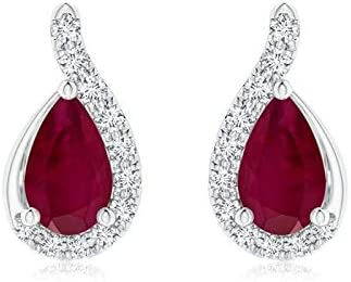 Ruby Solitaire Stud Earrings 14k Solid Yellow Gold Valentine Gifts