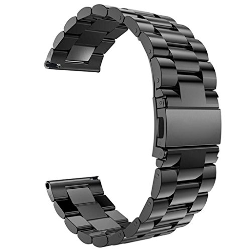 MOTO 360 2nd Gen Watch Band, Stainless Steel Bracelet Watch Strap with Metal Clasp Classic Buckle Wrist Strap for MOTO Smart Watch 46mm - Black