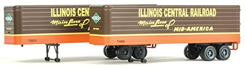(Walthers HO Scale 35' Fluted-Side Truck Trailers 2-Pack Illinois Central/IC)