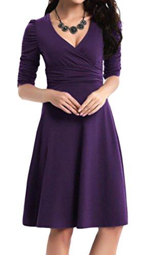 Collo Abito 3 4 Elegante Mini Del Donne Profondo V Involucro Viola Manica Pieghe Domple Oscillazione xqB1U7BR