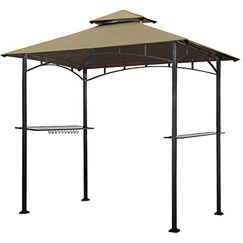 Keymaya 8'x5' Grill Gazebo Shelter for Patio and Outdoor Living BBQ Shelter Tent, Double Tier Soft Top Canopy and Steel Frame with Bar Counters, Bonus LED Light (Khaki) (Wooden Gazebo Patio)