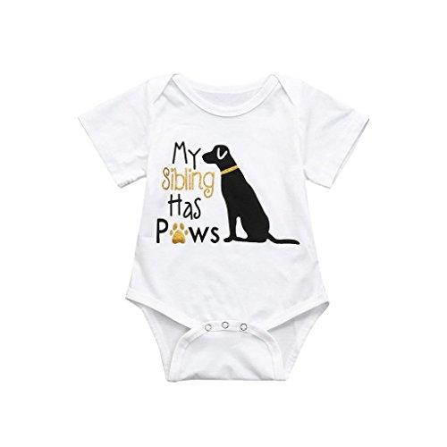 Goodlock Toddler Infant Fashion Romper Baby Boys Girls Cotton Letter Dog Jumpsuit Clothes Outfits (Size:6M) -