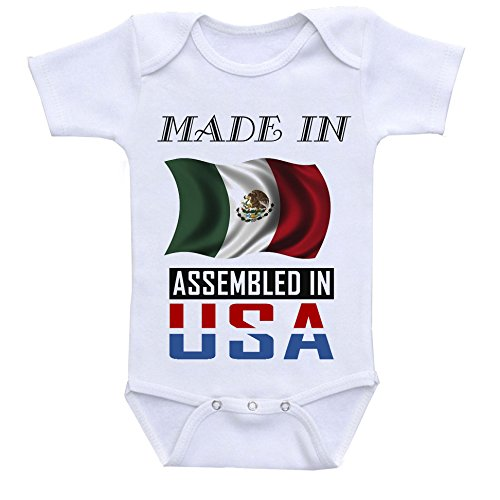 - Made in Mexico Assembled in The USA Custom Boutique Baby Bodysuit Onesie White