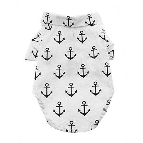 White Sailor Dog Shirt - DOGGIE DESIGN Hawaiian Camp Dog Shirt (Anchors Away, L)