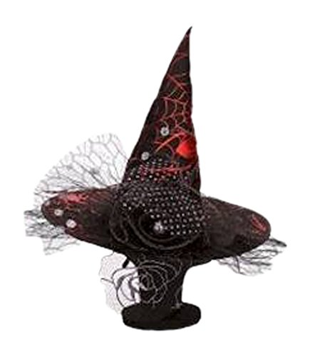 Mark Roberts Red Spider Web Witch Hat, Black/Red, One Size -