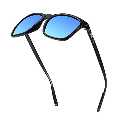 Frame Blue Ice Lens - Square Aluminum Magnesium Frame Polarized Sunglasses Vintage Spring Temple Sun Glasses Men Women Retro Driving Eyewear UV400 (Ice Blue Lens/Black Frame)