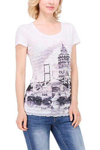 Zelia - Camiseta - Cuello redondo - para mujer blanco