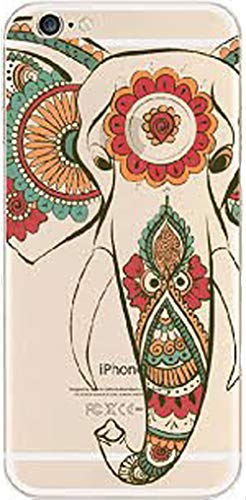 DECO FAIRY Compatible with iPhone 6 / 6s, Cartoon Anime Animated Bohemian Indian Tribal Aztec Elephant Series Transparent Translucent Flexible Silicone Cover Case