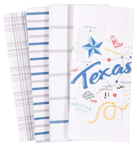 KAF Home Pantry Texas State Kitchen Dish Towel Set of 4, 100-Percent Cotton, 18 x 28-inch