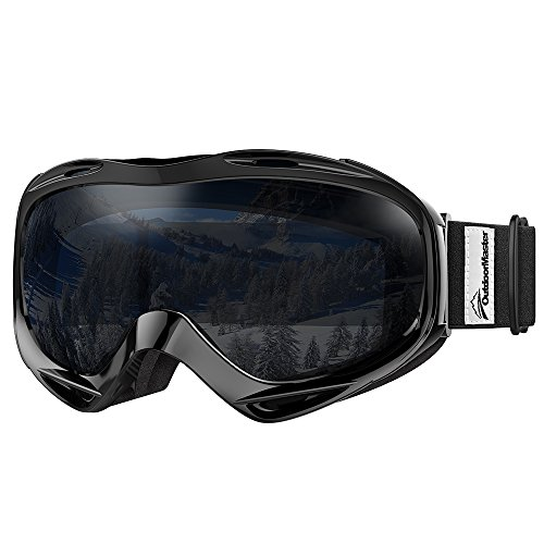 OutdoorMaster OTG Ski Goggles - Over Glasses Ski / Snowboard Goggles for Men, Women & Youth - 100% UV Protection (Black Frame + VLT 8% Black Lens) (Ski Black Boots)