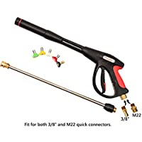 TOMIC Thunder Hardware 4000psi Pressure Washer Spray Gun with Universal M22 Connector and 5 Quick Connect nozzles for Honda Excell Troybilt, Generac, Simpson, Briggs Stratton Pressure Washers