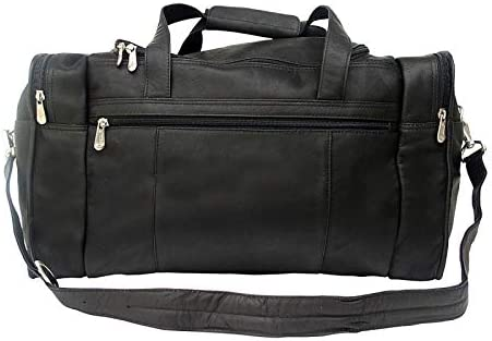 Leather Travel Duffel Bag w Side Pockets in Chocolate