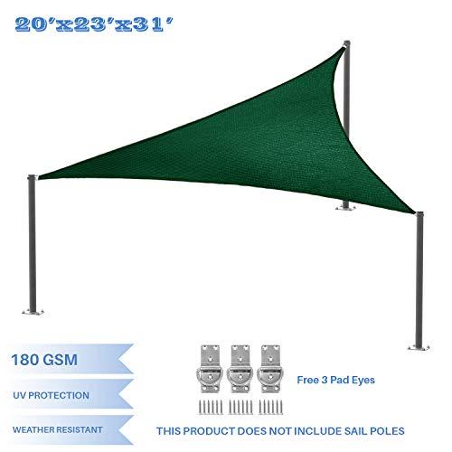E K Sunrise 20 x 23 x 30.5 Sun Shade Sail -Green Right Triangle UV Block Durable Awning Perfect for Canopy Outdoor Garden Backyard-Customized