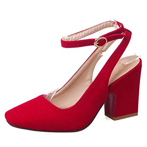 FANIMILA Moda Mujer Slingback Strappy Sandalias Verano Cerrado Tacon Ancho Alto Zapatos Rojo