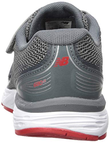 New Balance Boys' 680v5 Hook and Loop Running Shoe Lead/red 2 M US Infant by New Balance (Image #2)