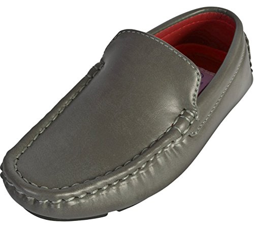 Jodano Collection Boys Classic Slip On Loafer Shoe, Grey, 4 M US Big Kid' by Jodano Collection