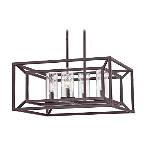 Caged Glass - Square Caged Bronze Chandelier with Seedy Glass