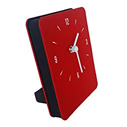 Multipurpose Felt Table & Wall Clock Non-Ticking Silent Quartz Movement Desk Clock (Red)