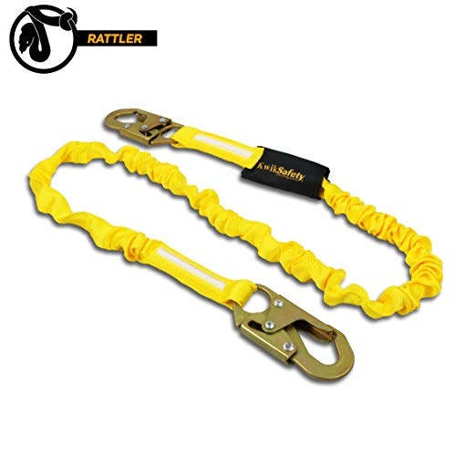 - KwikSafety (Charlotte, NC) RATTLER 1 PACK (Internal Shock Absorber) Single Leg 6ft Safety Lanyard, Tool Lanyard OSHA ANSI Fall Protection Equipment Snap Hooks Construction Arborist Roofing