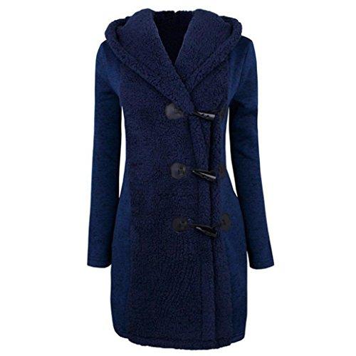 Culater Mujeres Moda Invierno Gruesos Botones Cálidos Abrigo Parka Hoodie Outwear Azul