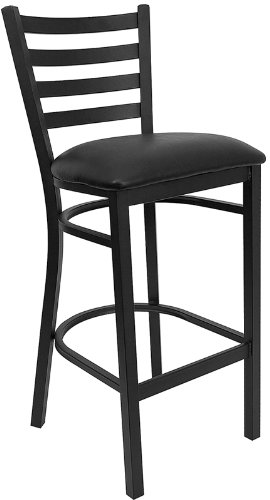 Flash Furniture HERCULES Series Black Ladder Back Metal Restaurant Barstool    Black Vinyl Seat