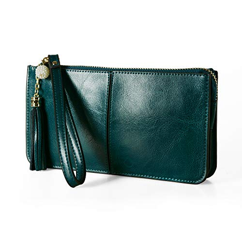 Befen Soft Leather Wristlet Phone Wristlet Wallet Clutch with Wrist Strap/Card slots/Cash pocket- Fit iPhone 6S Plus/Samsung Note 5- Peacock Green