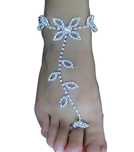 Skyvan One Piece Bride Ankle Bracelet Crochet for Women Sandals Beach Foot Jewelry Anklet Rhinestone Barefoot
