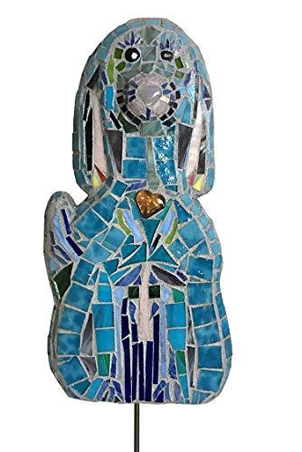 Garden Feline Sculpture - Blue Dog Mosaic Garden Stake