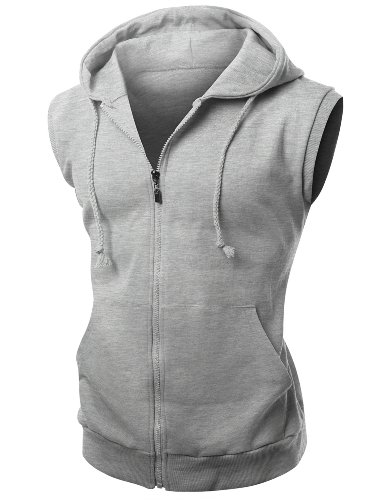 Xpril Basic Solid Cotton Based Zipper Vest Hoodie Melange Gray Size XL