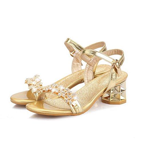 Sandalias suave Heels Dorado VogueZone009 punta Kitten abierta Hebilla Material con abierta para mujer 88XWAr