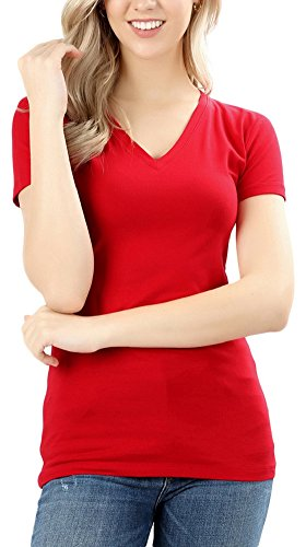 ToBeInStyle Women's Short Sleeve V-Neck Basic T-Shirt - Ruby - (Ar Red Charcoal)