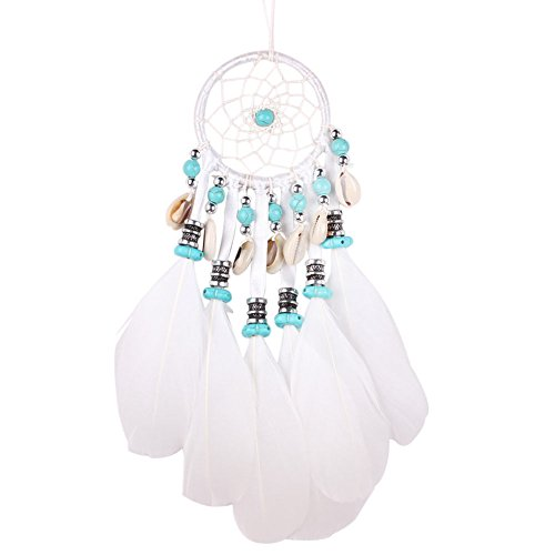UNAKIM--Handmade Dream Catcher Feather Bead Hanging Decoration Ornament Craft Gift White (United Manchester Lamp Bedroom)