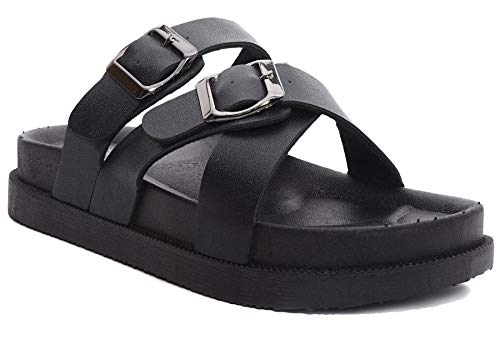 Charles Albert Women's Two Buckle Slide Cross Sandal (8 B(M) US, Black/Black)