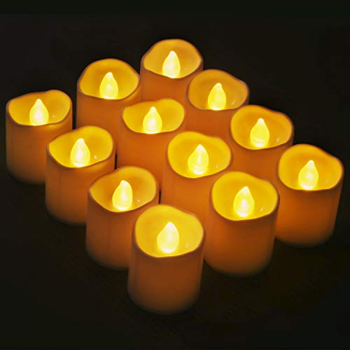 Novelty Place Flameless Votive Candles, Bright Flickering Tea Lights in Warm Yellow, Battery Operated Longest Lasting LED Candles for Wedding, Christmas, Thanksgiving, Indoor & Outdoor (Pack of 12)