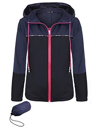 SE MIU Womens Lightweight Raincoat Hooded Waterproof Active Outdoor Rain Jacket