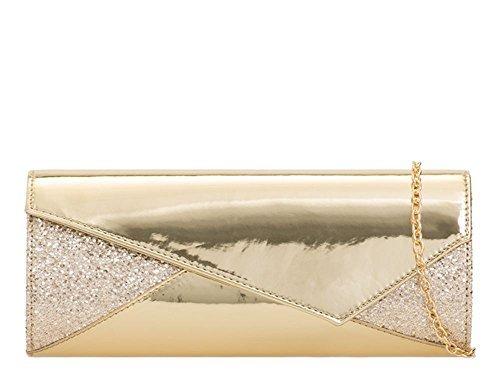 Verni monnaie Rabat Sac Pochette Or haute Paillettes pour Brillant 'S Cuir Or Medium Porte DIVA Soirée asymétrique NEUF Brillant nAP0PaZ7w