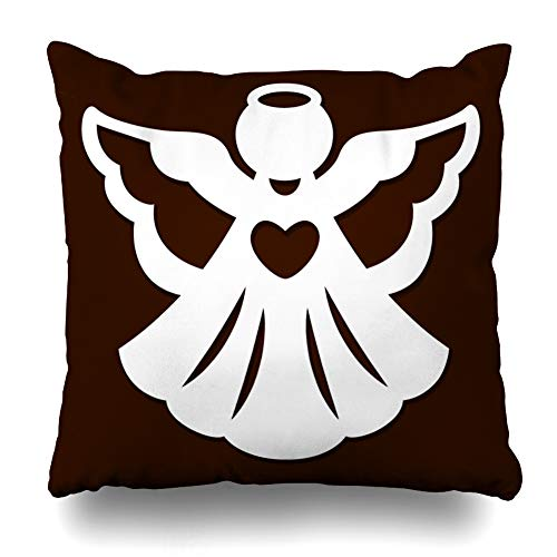 Filigree Christmas Cards - KJONG Christmas Angel Decoration Merry Christmas Greeting Card Angel Angel Square DecorativePillow Case 18 x 18inch Zippered Pillow Cover for Bedroom Living Room(Two Sides Print)