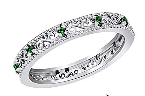 Jewel Zone US Round Cut Simulated Green Emerald Stackable Ring in 14K White Gold Over Sterling Silver