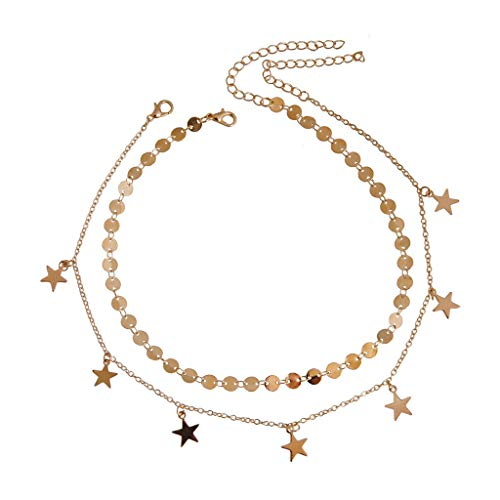 (Behkiuoda Women Necklace Pendant Sequined Star Chain Wedding Party Jewelry Choker Fashion Accessories for Lady (Free Size,)