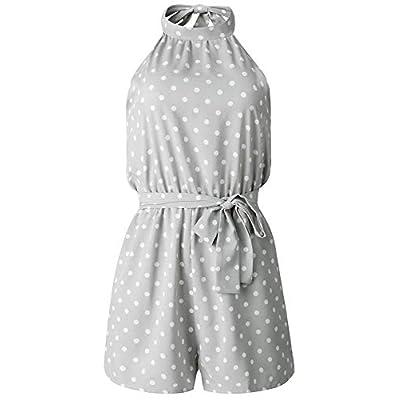 PRETTYGARDEN Women's Summer Polka dot Printed Halter Neck Sleeveless Elastic Waist One Piece Short Jumpsuit Rompers: Clothing
