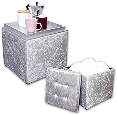 Silver Crushed Velvet Ottoman Square Storage Footrest Coffee