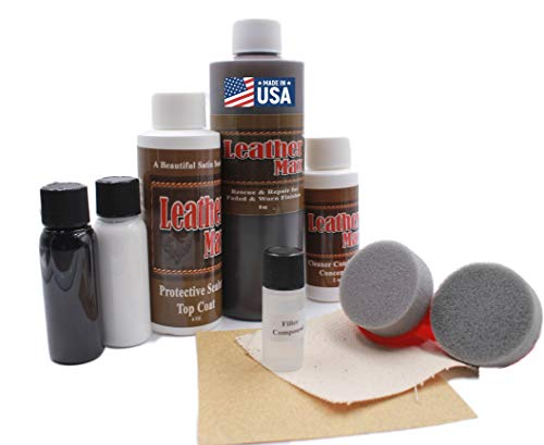 Furniture Leather Max MEGA Kit/Leather Restorer / 8 Oz Refinish 2 Oz Conditioner / 4 Oz Top Coat/Black and White 1 Oz Color Changer/Sponge (Leather Repair Kit) (Dark Brown)
