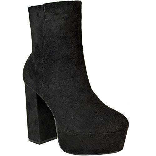 Mode Soif Dames De La Femme Bottines Plate-forme Trapu Bloc Taille Chaussures Cloutées À Haut Talon Noir Faux Suède
