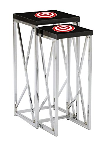 Black Laminate Formica and Chrome Finish Nesting Tables with Your Choice of a Novelty Themed Logo! (Target) FREE set of coasters with each purchase! (Tv Dinner Target Trays)