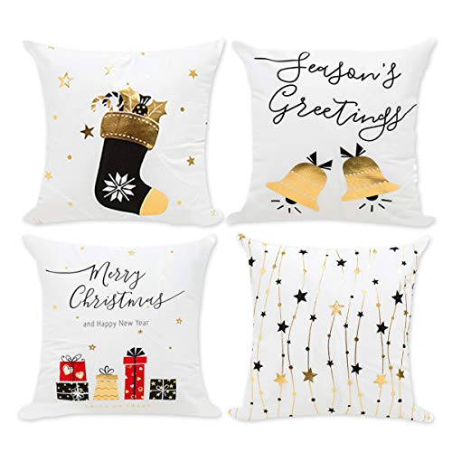 Christmas Pillow Covers Cushion Case - Decorative Square Throw Pillowcase Set 18 x 18 inch Pack of 4 | White Gilding Cotton Style Print Star, Bell, Stocking, Gifts for Merry Christmas Home/Car/Bedroom